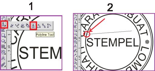 Cara membuat Garis Tengah pada Stempel
