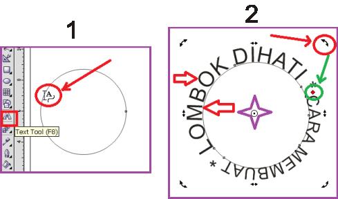 Cara Membuat Lingkaran dan Teks pada Stempel