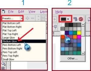 cara memberi warna pada efek bayangan dalam coreldraw