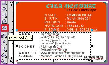 Membuat Teks pada ID Card Landscape