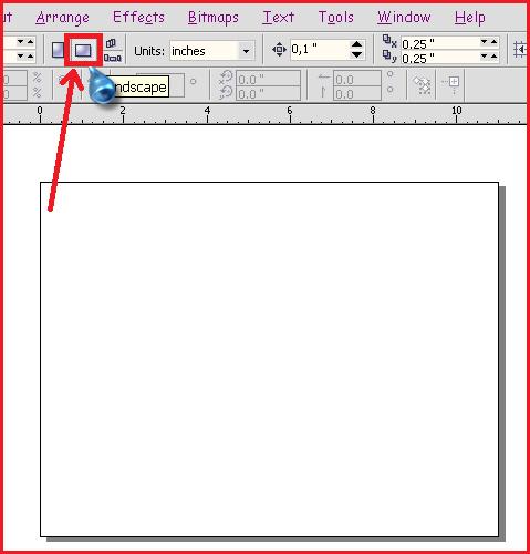 page mode landscape coreldraw