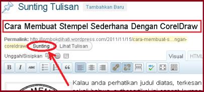 Merubah Link dan Judul Posting