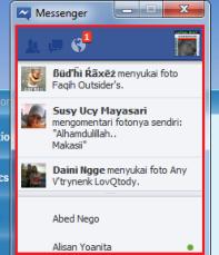 Halaman Pembaharuan Terbaru Teman Pada Facebook Messenger