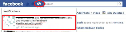 Phising facebook account Verification melalui notifikasi atau pemberitahuan